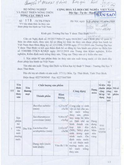 Giấy phép lưu hành BTS-YTB và DTS-YTB tờ 1/2