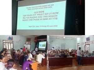 Thôn Nghi Lộc Huyện Ứng Hòa tập huấn dùng vi sinh AT-YTB xử lý rơm rạ tại ruộng